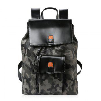 Camouflage Print PU Leather Backpack - BLACK BLACK
