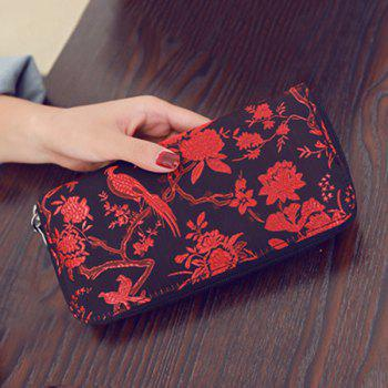 Embroidery Color Block Bird Pattern Wallet - RED RED