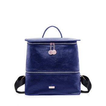 PU Leather Metallic Zips Backpack