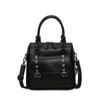 Double Buckles Criss-Cross PU Leather Tote