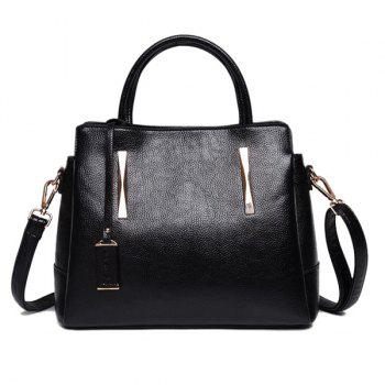 Metal Embellished Pendant PU Leather Tote