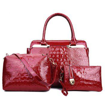 Crocodile Embossed Metal PU Leather Handbag