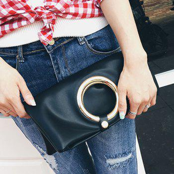 Snap Closure PU Leather Clutch Bag - BLACK BLACK