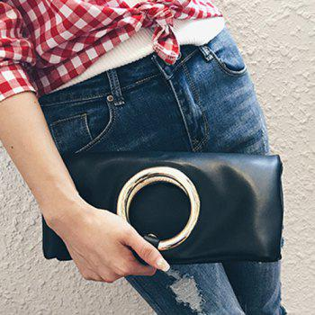 Snap Closure PU Leather Clutch Bag -  BLACK