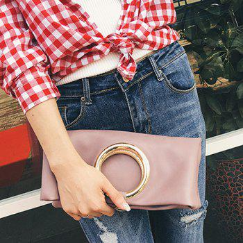 Snap Closure PU Leather Clutch Bag