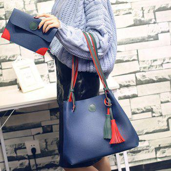 Magnetic Closure Color Spliced Tassels Shoulder Bag