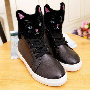 Casual Cartoon Cat Lace-Up PU Leather Boots