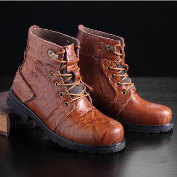 Metal Lace Up PU Leather Boots - LIGHT BROWN 42