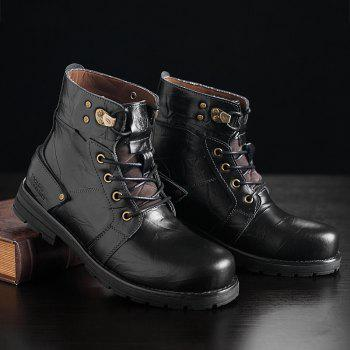 Metal Lace Up PU Leather Boots - BLACK 40