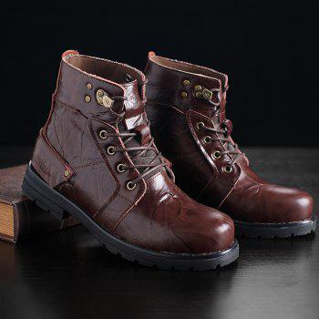 Metal Lace Up PU Leather Boots - DEEP BROWN 44