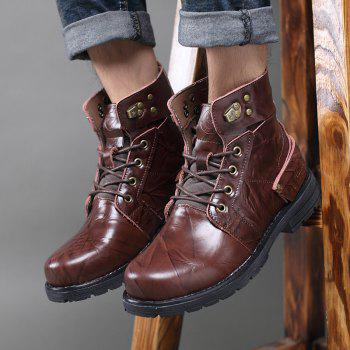 Metal Lace Up PU Leather Boots - DEEP BROWN 41