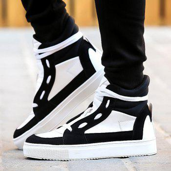 Lace-Up Suede Splicing Boots - WHITE/BLACK 44