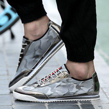 Splicing Lace-Up Camouflage Pattern Souliers simples - Gris clair 41