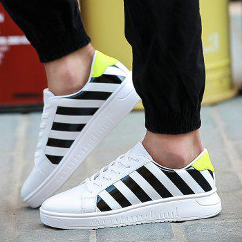 Tie Up PU Leather Striped Casual Shoes