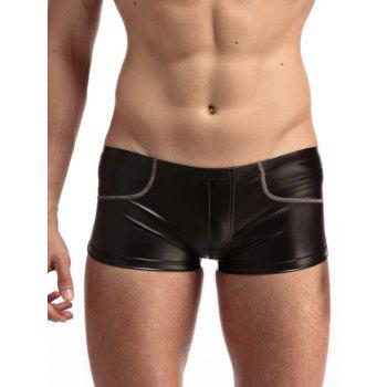 Edging PU-Leather Boxer Brief