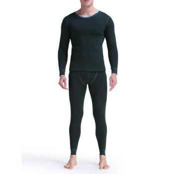 Round Neck Buttons Embellished Warmth Thermal Underwear Suit