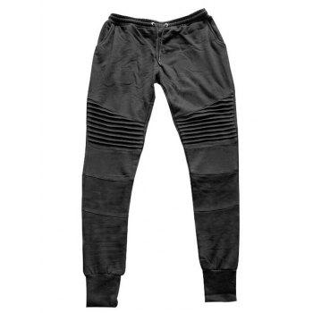Pleats Design Drawstring Biker Jogger Pants