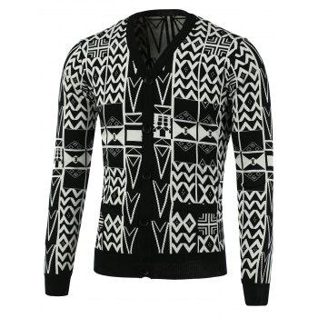 Geometric Pattern V-Neck Long Sleeve Cardigan
