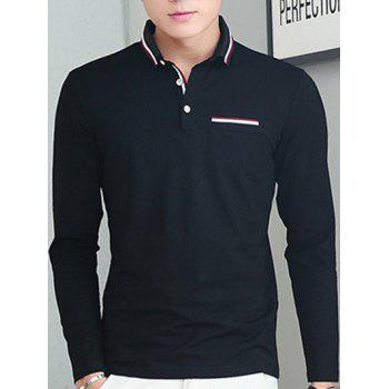 Long Sleeve Selvedge Design Polo Shirt