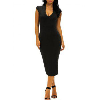 Low Cut Midi Bodycon Evening Dress - BLACK L