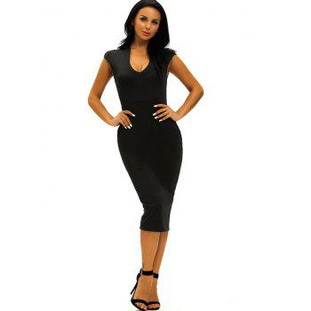 Low Cut Midi Bodycon Evening Dress - L L
