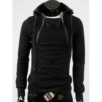 Hooded Long Sleeve Double Zipper Design Fleece Hoodie