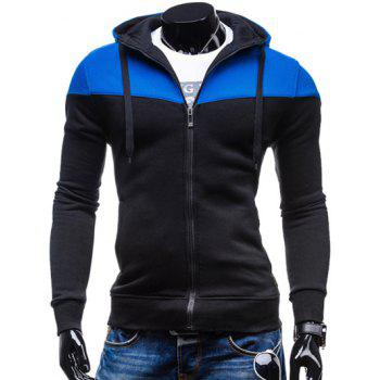 Hooded Color Block Splicing Design Zip-Up Hoodie