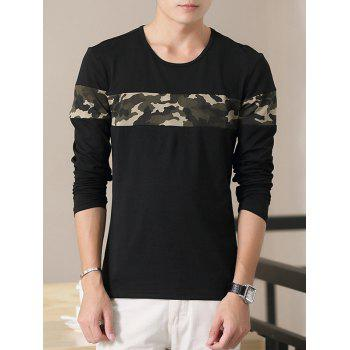 Crew Neck Long Sleeve Camouflage Splicing T-Shirt