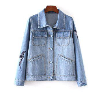 Bird Embroidered Button Up Denim Jacket