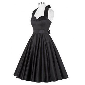 Retro Ruched Hem Halter Swing Prom Dress - BLACK 2XL