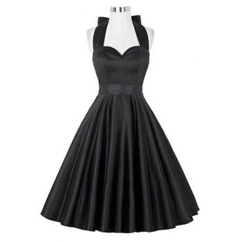 Retro Ruched Hem Halter Swing Prom Dress