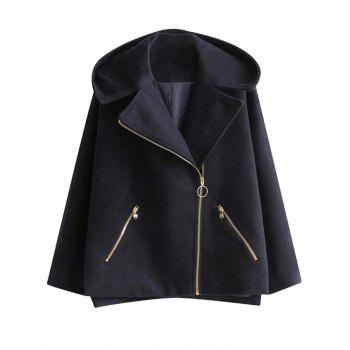 Hooded Wool Blend Inclined Zipper Coat