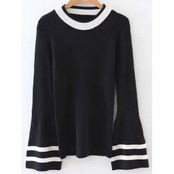 Crew Neck Flare Sleeve Striped Knitwear