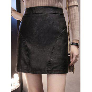 High Waisted Faux Leather Sheath Skirt