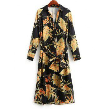 Long Sleeve Belted Floral Shirt Dress
