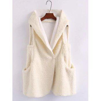 Pompon Shearling Hooded Vest