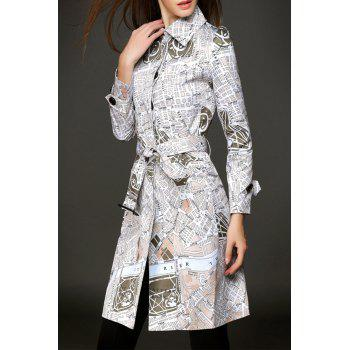 Single Breasted Print Belted Coat