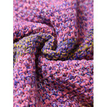 Winter Thicken Longer Color Block Design Knitted Wrap Kids Mermaid Tail Blanket - PINK
