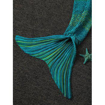 Winter Thicken Longer Color Block Design Knitted Wrap Kids Mermaid Tail Blanket - CYAN
