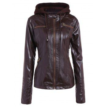 Stylish Convertible Collar Long Sleeve Solid Color PU Leather Women's Jacket