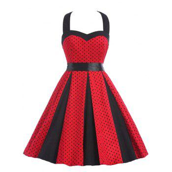 Retro Polka Dot Party Halter Swing A Line Dress - RED 2XL