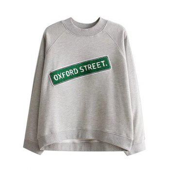 Loose Oxford Letter Sweatshirt - GRAY GRAY