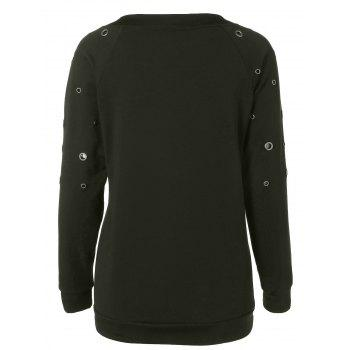 Zippered Crew Neck Pullover Sweatshirt - ARMY GREEN ARMY GREEN