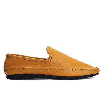 Stylish Solid Colour and PU Leather Design Men's Casual Shoes - MELON YELLOW 41