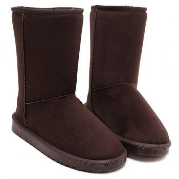 Concise Flat Heel Mid-Calf Snow Boots - COFFEE 38