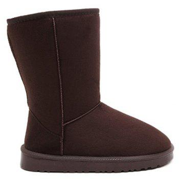 Concise Flat Heel Mid-Calf Snow Boots - COFFEE 40