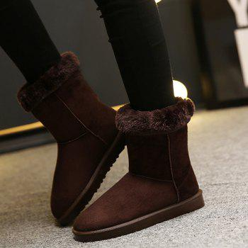 Concise Flat Heel Mid-Calf Snow Boots - COFFEE 39