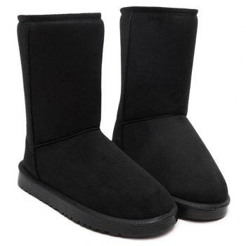 Concise Flat Heel Mid-Calf Snow Boots - BLACK 38