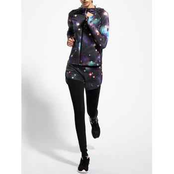Hooded Printed Jacket and Colorful Sky Running Pants - BLACK M