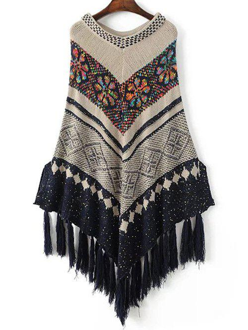 Floral Knitted Fringed Cape - KHAKI ONE SIZE